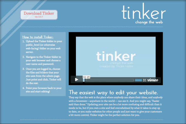 Tinker site preview